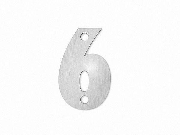 Kleine Hausnummer 6 in der Schriftart Classic aus Edelstahl