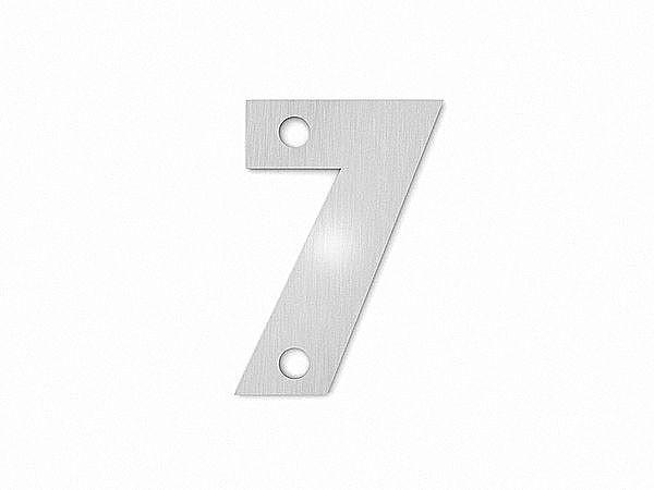Kleine Hausnummer 7 in der Schriftart Classic aus Edelstahl