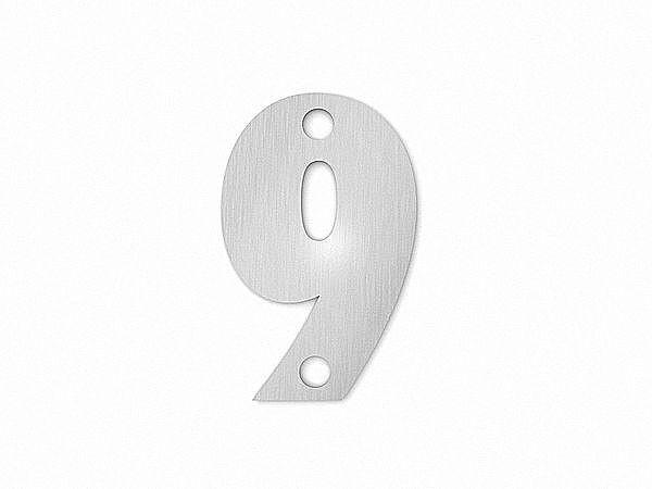 Kleine Hausnummer 9 in der Schriftart Classic aus Edelstahl