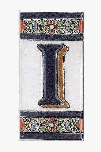 Spanische Fliesen aus Keramik - Buchstabe I