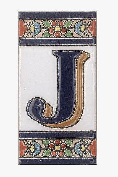Spanische Fliesen aus Keramik - Buchstabe J
