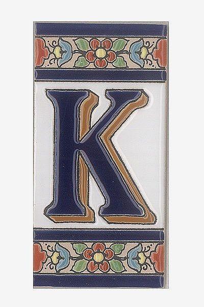 Spanische Fliesen aus Keramik - Buchstabe K
