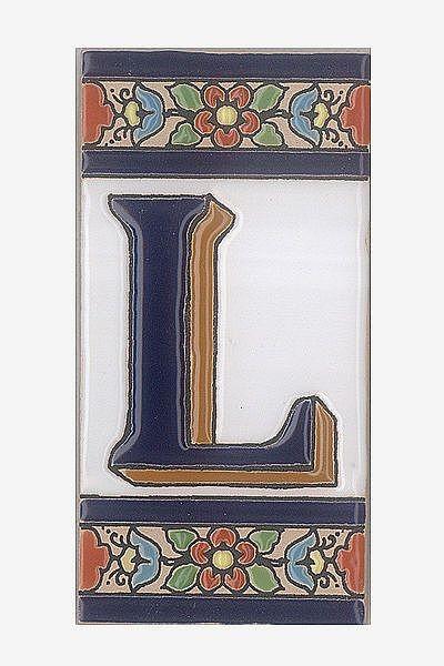 Spanische Fliesen aus Keramik - Buchstabe L