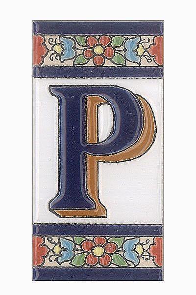Spanische Fliesen aus Keramik - Buchstabe P