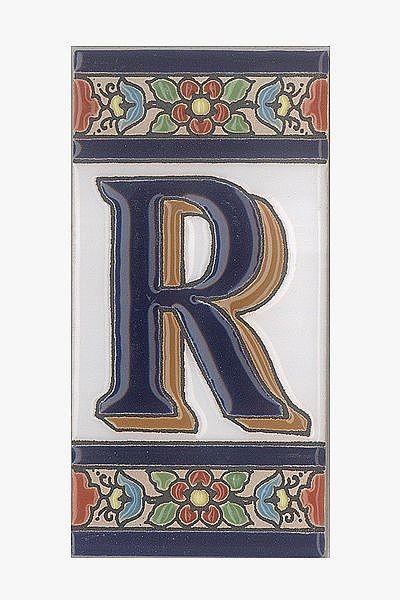 Spanische Fliesen aus Keramik - Buchstabe R