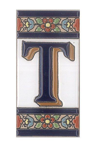Spanische Fliesen aus Keramik - Buchstabe T