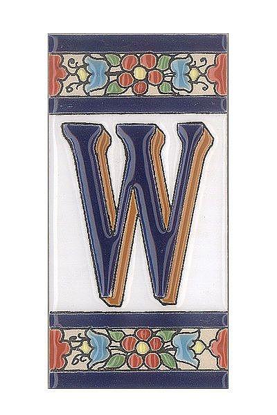 Spanische Fliesen aus Keramik - Buchstabe W