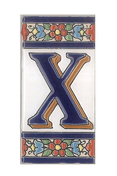 Spanische Fliesen aus Keramik - Buchstabe X