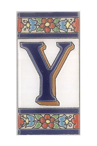 Spanische Fliesen aus Keramik - Buchstabe Y