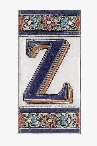 Spanische Fliesen aus Keramik - Buchstabe Z
