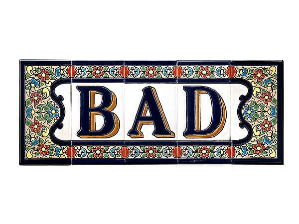 Spanischer Schriftzug Bad