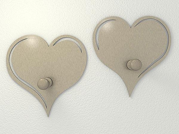Edelstahl Garderobenhaken in Herzform bei SchilderShop