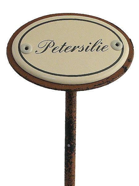 Gartenstecker aus Emaille für das Kräuterbeet - Petersilie bei SchilderShop
