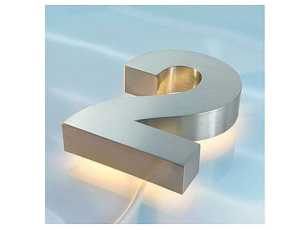 3d edelstahl hausnummer hinterleuchtet mit wei en leds ziffer 2 s5349 ebay. Black Bedroom Furniture Sets. Home Design Ideas