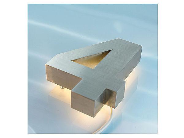 3D Edelstahl - Hausnummer hinterleuchtet mit weißen LEDs - Ziffer 4