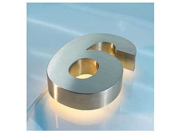 3D Edelstahl - Hausnummer hinterleuchtet mit weißen LEDs - Ziffer 6