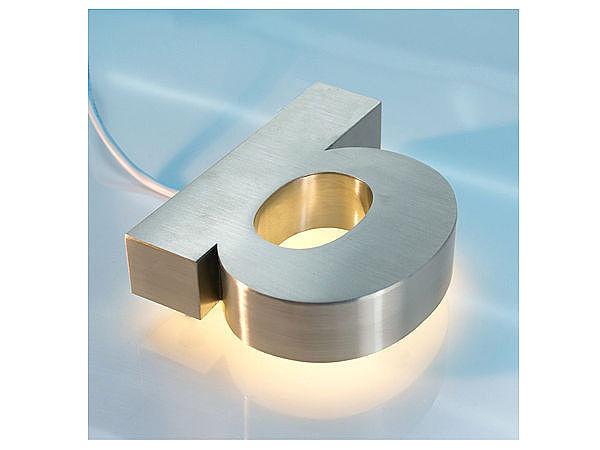 3D Edelstahl - Hausnummer mit weißen LEDs - Buchstabe b