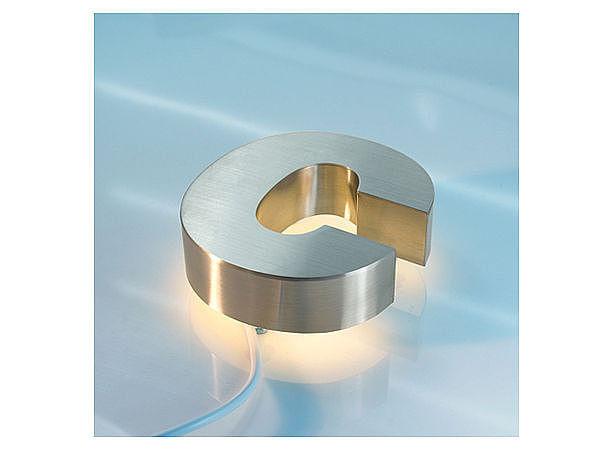 3D Edelstahl - Hausnummer mit weißen LEDs - Buchstabe c