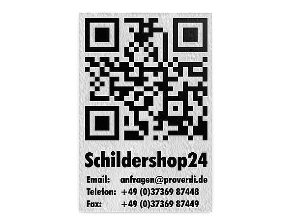 QR-Code mit Text - kaschierter Foliendruck auf Edelstahl 200 x 300 mm