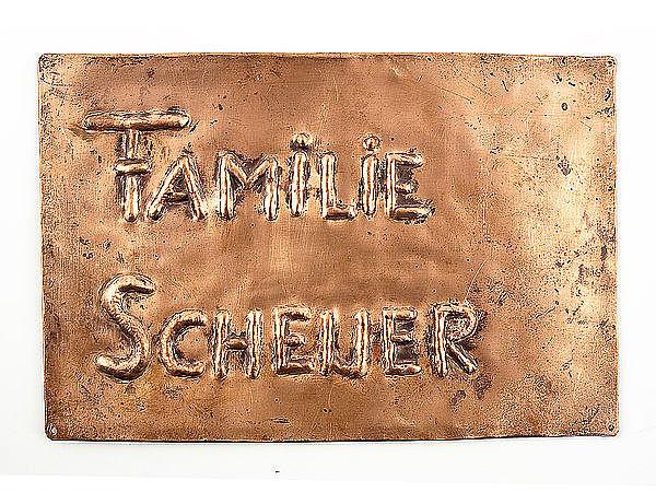 Namensschild aus Kupfer - Kupferschild 230 mm x 150 mm bei SchilderShop