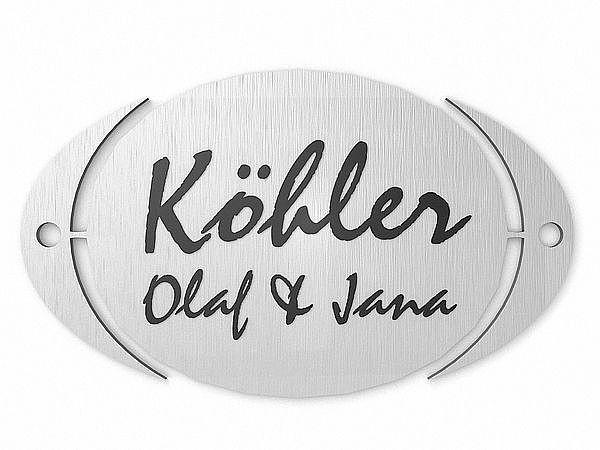 Türschild oval aus Edelstahl 150 mm x 90 mm bei SchilderShop