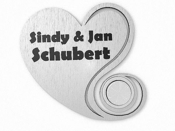 Edelstahl Namensschild Herz mit Klingel - Herz - 70 mm x 66 mm