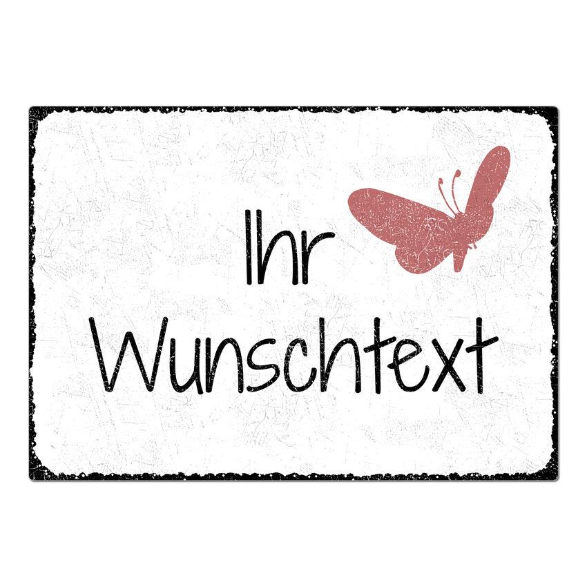 Blechschild A4 mit individuellem Wunschtext im Vintage Stil weiß large