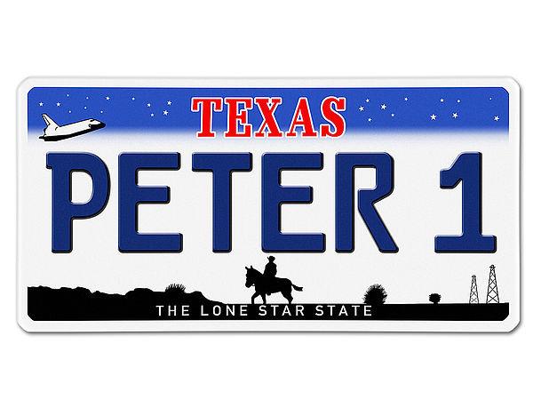 Texas USA Dekoschild - Kfz-Kennzeichen mit Wunschtext bedruckt