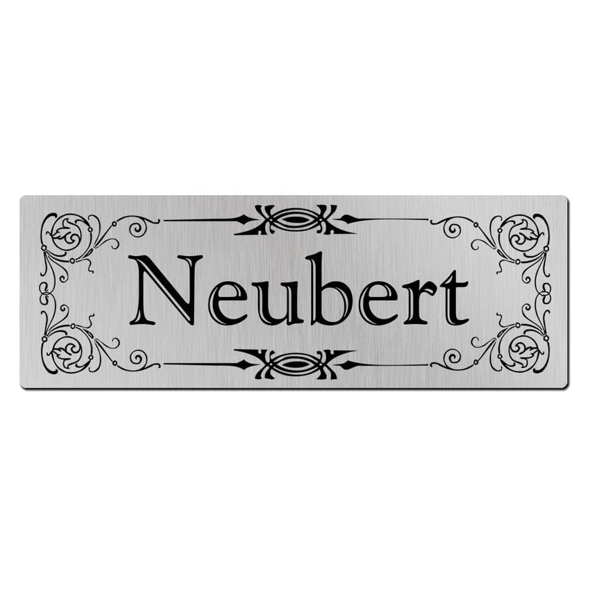 Briefkastenschild aus Aluminium mit Name 100 x 35 mm - Ornament