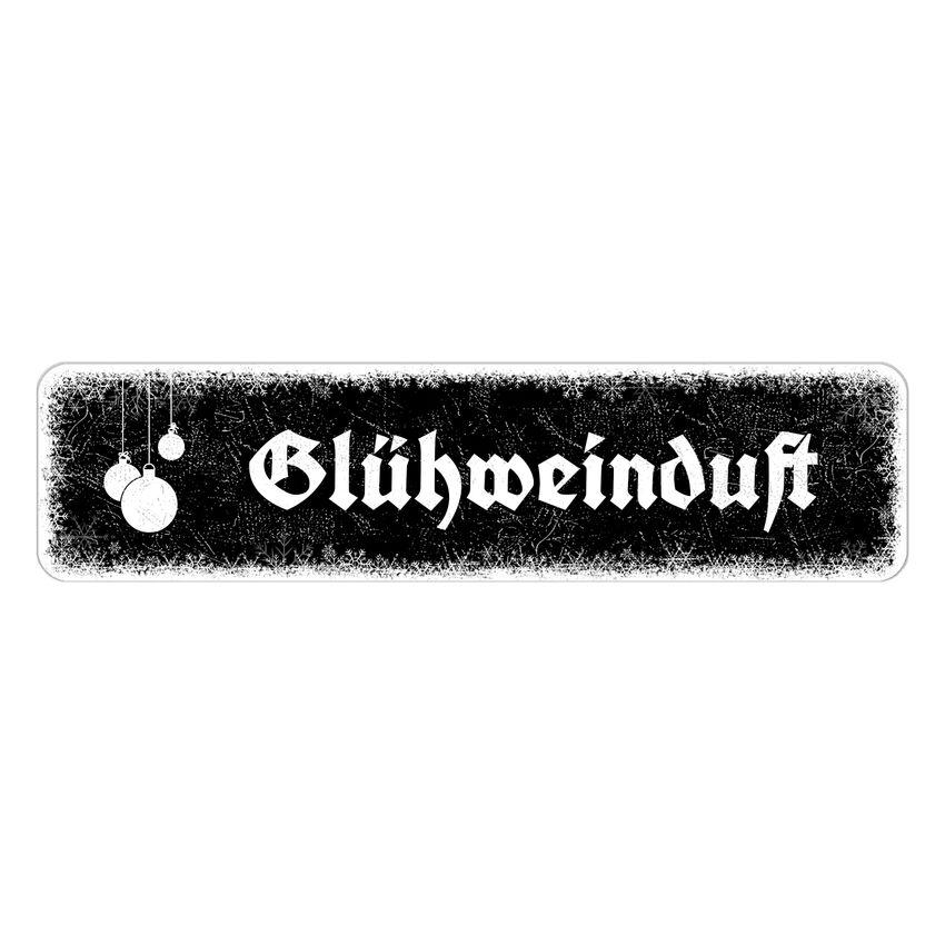 Winterdekoschild mit eigenem Wunschtext 150 x 35 mm schwarz