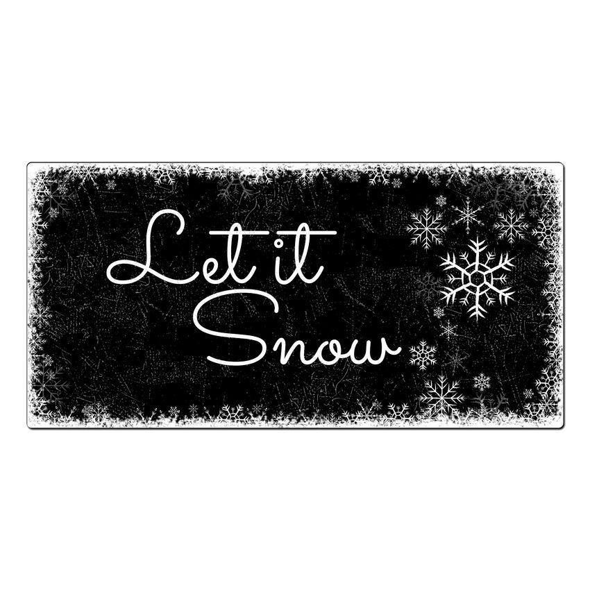 Weihnachtsdeko schneefl ckchen schild mit wunschtext 300 x 150 mm schwarz hausnummern und - Weihnachtsbaumkugeln schwarz ...