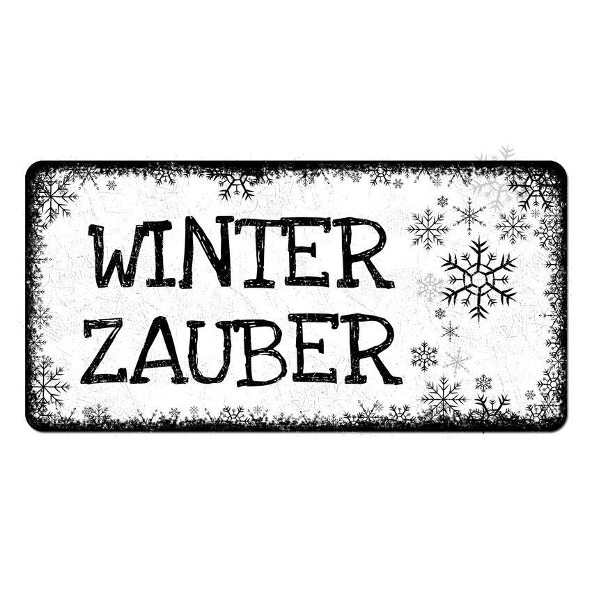 Winterdeko Schneeflöckchen - Schild mit Wunschtext - 300 x 150 m bei SchilderShop