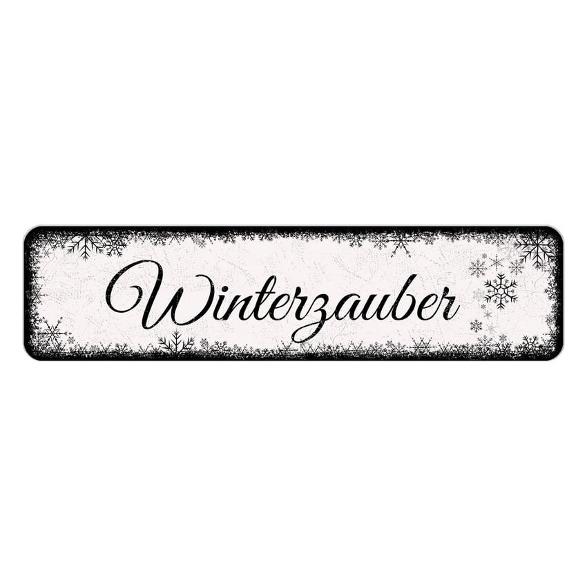 Schild Schneeflöckchen mit Wunschtext 300 x 75 mm weiß bei SchilderShop