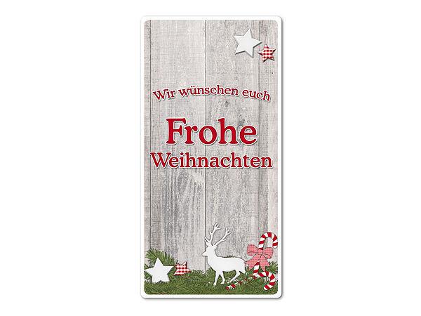 Hüttentraum Dekoschild Frohe Weihnachten oder mit Wunschtext 100 x 200 mm