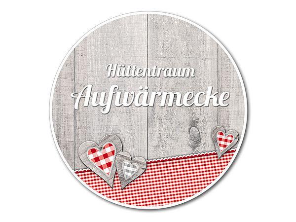 Dekoschild Hüttentraum Aufwärmecke oder Wunschtext - 148 mm Mot bei SchilderShop