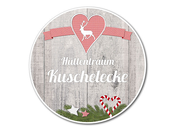 Dekoschild Hüttentraum Kuschelecke oder Wunschtext - 148 mm Hirs bei SchilderShop