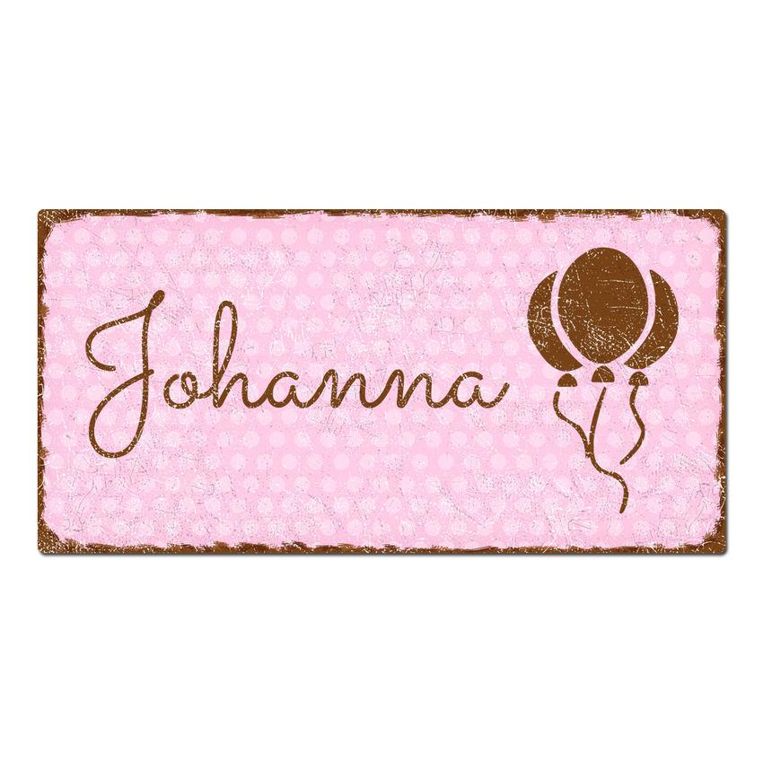 Türschild Pünktchen mit Wunschtext 200 x 100 mm vintage rosa bei SchilderShop