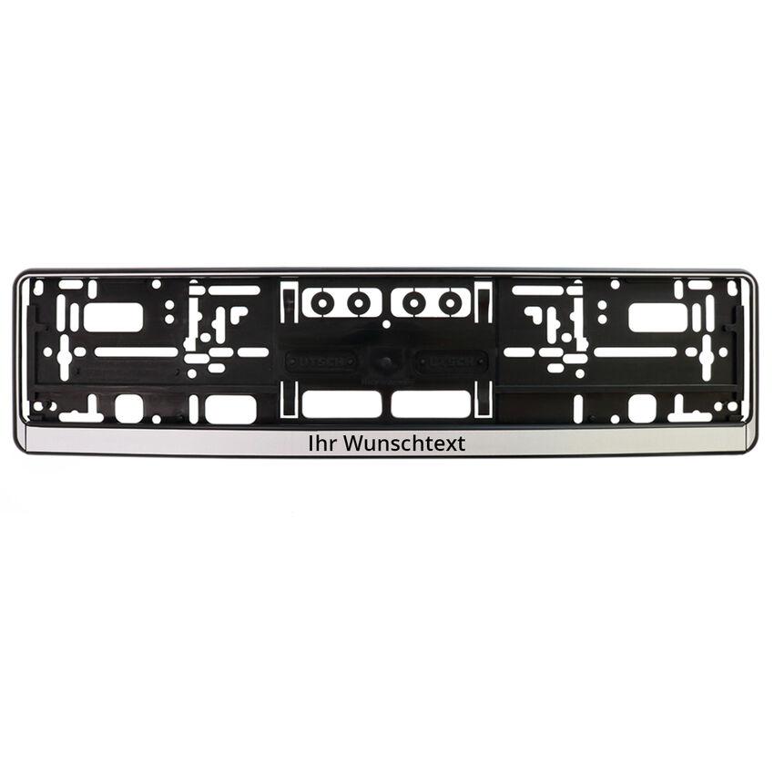 Kennzeichenhalter bedrucken - schwarz/silber - 52 cm - 1 Stück