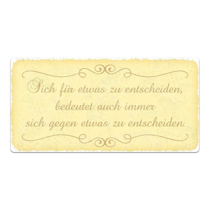 Vintage Schild mit Wunschtext 300 x 150 mm gelb medium