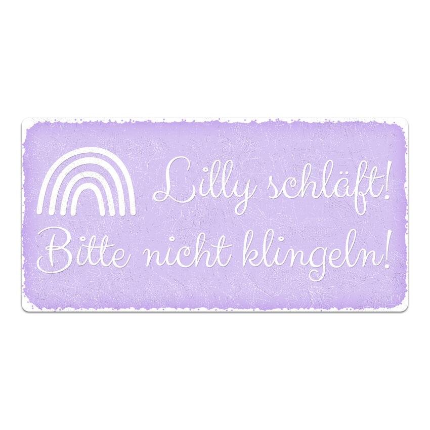 Vintage Schild mit Wunschtext 300 x 150 mm violett medium