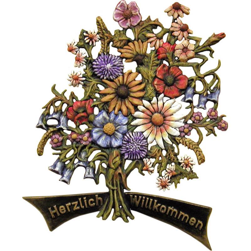 Türschild Blumenstrauß aus Kunstguss 55 x 60 cm mit Aufschrift Herzlich Willkommen oder Wunschtext