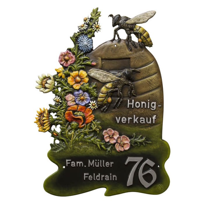 Hausschild Bienenkorb aus Kunstguss 56 x 77 cm bei SchilderShop