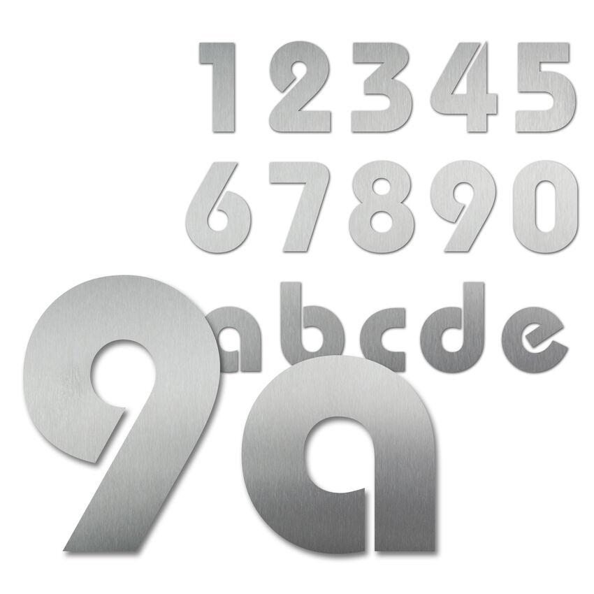 Hausnummern aus Edelstahl in Bauhaus Schrift 300 mm