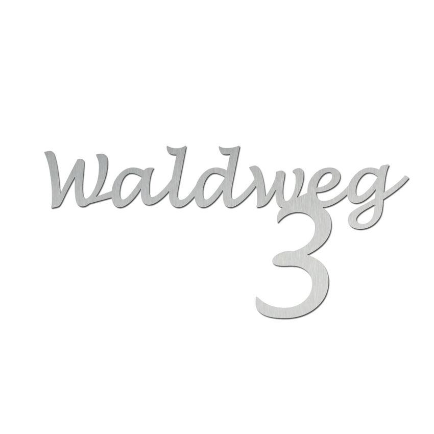Edelstahl Hausnummer mit Straßenname - Design Handwriting - bis 11 Buchstaben