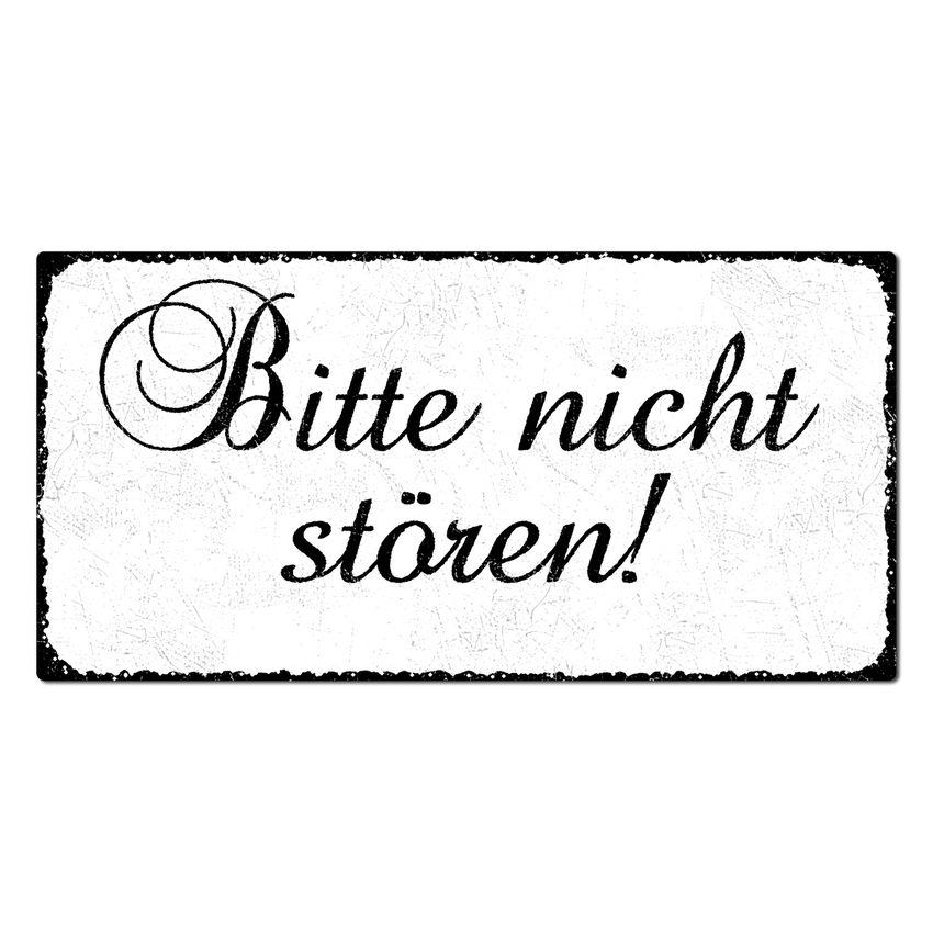 Bitte nicht stören! - Vintage Schild 200 x 100 mm weiß