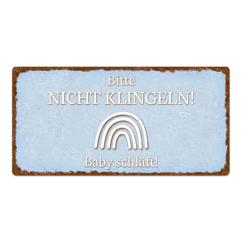 Schild Bitte nicht klingeln - 200 x 100 mm blau