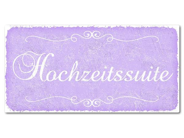Hochzeitsdeko Vintage Schild mit Wunschtext 300 x 150 mm violett