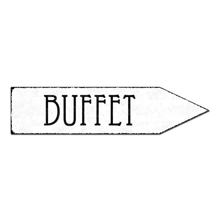 Wegweiser Buffet - Schild als Partydeko - 41,5 x 10 cm