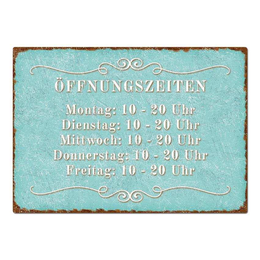 Schild mit Öffnungszeiten A4 türkis