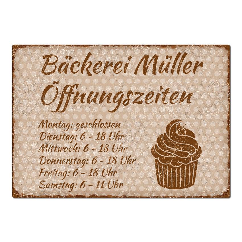Vintage Schild Öffnungszeiten A3 - Pünktchen cappuccino